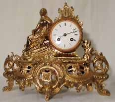 Figure fireplace clock / pendule - around 1860-1890