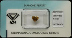 1.04 ct. Natural Fancy Deep Brownish Orangy Yellow Diamond - NO RESERVE