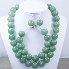 Silver 925/1000 - Jade set - length 45cm and 18cm.