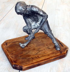 Rare and heavy sculpture of a field hockey player – unique sculpted model – Mid 20th century