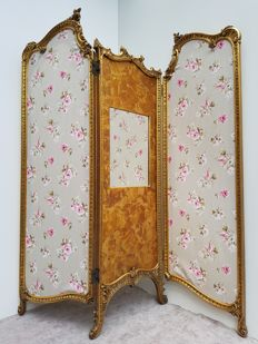 Gilt wooden three-fold room screen in Louis XV style -France - ca. 1900