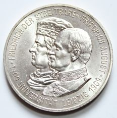 German Empire, Saxony - 5 Mark 1909, 500 years University of Leipzig - silver