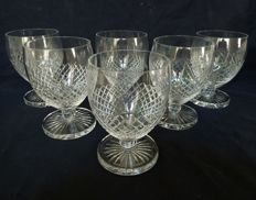 Saint Louis, 6 water glasses in ball shape, model Tacite, signed, France, ca. 1940-50