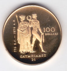 Canada – 100 Dollars 1976 'Olympic' in original packaging - gold