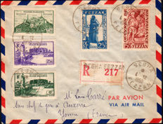 French Occupation, Fezzan Ghadamès, 1949 – registered mail to Auxerre Yonne