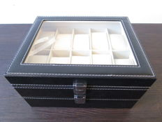 Black, double watch box –leather look and modern finish – new