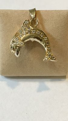 14 kt Gold dolphin pendant with zirconias
