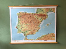 School map on linen Spain and Portugal