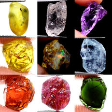 Lot of Sapphire, Morganite, Amethyst, Garnet, Opal, Aquamarine, Ruby and Tourmaline (9) - 46.90 ct Total