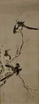 Mynah on snow covered tree - Japan - Early 20th century