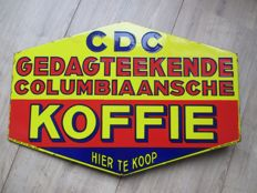 Enamel advertising sign CDC Colombian coffee - 1933