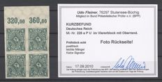 Dt.  German Reich - Michel 226 U, 4 stamp posthorn, block of four - BPP report