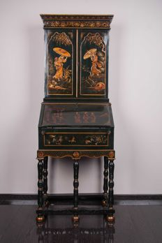 Black lacquered and gold leaf decorated small Secretaire - France, ca. 1910