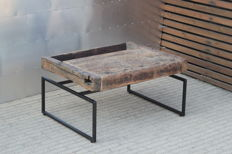 Kris Devillé – coffee table, side table with a floating tabletop, made of an old workbench, in oak wood.