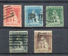 Tuscany, 1851 - Lion - Coat of Arms - Lot of 5 values, used, Sassone no. 4+5+6+7+8