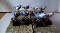 Collection of 8 birds in glazed metal, 1970s