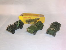Dinky Toys-France - Schaal 1/48 - US Jeep - No.153a, Hotchkiss Willys Jeep with Driver - No.80B & Austin Champ No.674