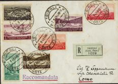 Italian Colonies 1940 - Libya - Registered mail to Como, stamped with Mostra d'Oltremare values