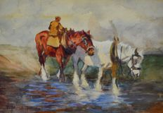 F V Johnson Travers. (20th century) - Shire ploughing horses cooling their hooves.