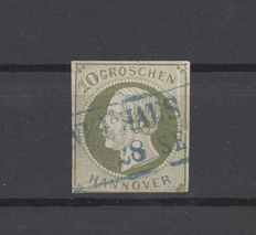 Hannover - Michel 18, 10 Groschen Freimarke 1861 cancelled, checked