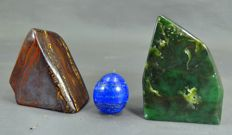 Fine Lot of tumbles - Tiger's Eye, Lapis Lazuli Egg and best quality Nephrite - 41 to 92mm - 842gm  (3)