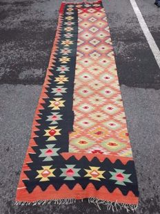 Very Beautiful Hand-knotted Turkish- Kilim 396 x 89  cm No reserve price! Get it now!
