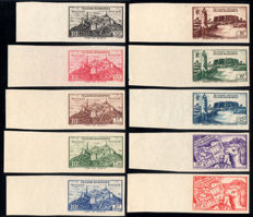 French-occupied Territories, Fezzan-Ghadamès, 1946 – Military Territory – Not perforated – Complete series of 15 stamps