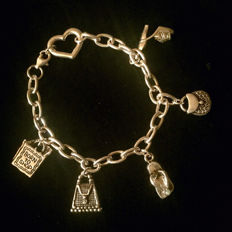 '925' Sterling Silver 'Born To Shop' Charm Bracelet - No reserve