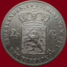 The Netherlands – 2½ guilder coin 1857, Willem III – silver