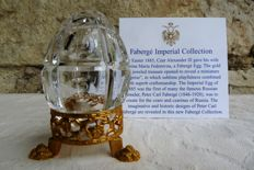 Crystal Faberge - Imperial egg Collection - Engraved crystal - Gold plated metal - signed - numbered