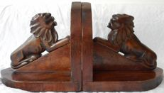 Mahogany Amsterdam school bookends with Lions, approx. 1925, the Netherlands