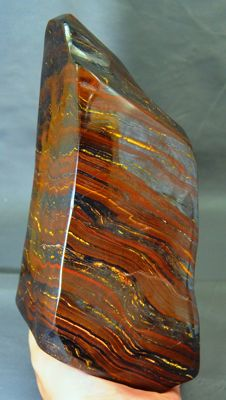 Self-standing, multi-coloured, high-polish Tiger's Eye - 190 x 112 x 62mm - 4130gm