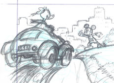 "Vendetta, Z. - Original Pencil Drawing - Mickey Mouse, Donald Duck and Pluto - ""The Driver"" Triptych"