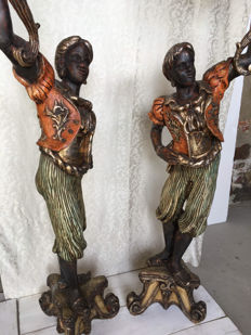 A pair of polychrome wood statuettes with lamps - Venice - 20th century