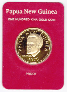 Papua - New Guinea - 100 kina 1975 in original packaging - gold