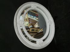 Elegant design mirror, hand carved, made with solid wood and aged in white