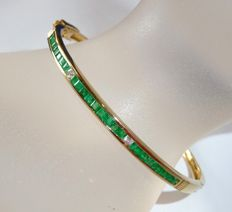 Bangle /  foldable18 kt 750 gold with 25 Colombian emeralds + 3 diamonds