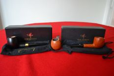 3 rare 1002 pipes from master Jean LACROIX - pipe maker in St. Claude and a paper with illustrations by Jacques Faizant - around 1970 - France
