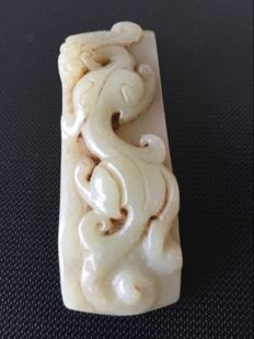 Pale green Jade belt hook, China, Early  20th century