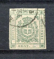 Modena, 1859 - Provisional Government. 5 cents, green - Sassone  # 12