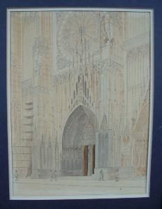 Drawing of the Strasbourg Cathedral around 1940