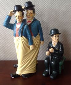Figurines Laurel and Hardy and Charlie Chaplin