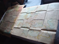 "Third Reich; lot with 2 original land maps of 1940/1943 ""France"" with special labelling of the ports of war and 'Europe' 2nd World War"