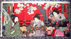 Woodblock print triptych by Utagawa Kunisada III (1848 - 1920) - Kabuki actors - Japan - ca. 1888