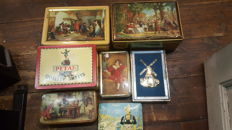 Lot of 7 vintage tins with old victorian scenes - All dating from 1970