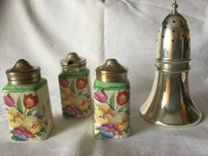 Clock design silver plated sugar caster and English porcelain pepper, salt and mustard jars with silver plated lids - marked