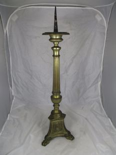 Large Flemish brass candlestick - with statue of Mary, the sacred heart & all seeing eye - early 20th century