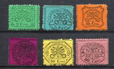Papal States - 1868 - Coat of arms - Lot of 6 stamps - Sassone no. 22+25+26+28+29+30