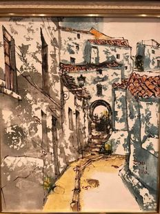 Bernard Dufour  (Paris 1922 2016 ) - Little Street of Ibiza, Spain
