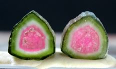 Perfect shaped complete and undamaged watermelon tourmaline slices - 5cts (2)